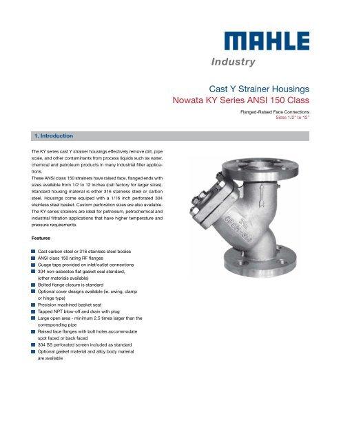 Data sheet ANSI 150 - MAHLE Industry - Filtration