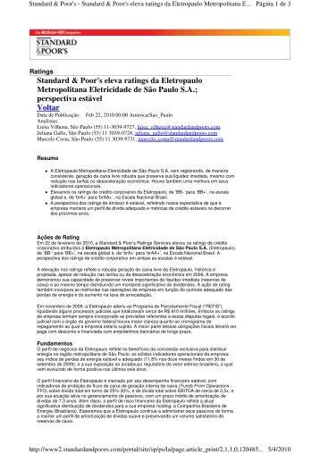Standard & Poor's eleva ratings da Eletropaulo Metropolitana ...