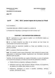 REPUBLIQUE DU TCHAD UNITE-TRAVAIL-PROGRES