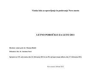 Poslovno poročilo za leto 2011 - Visoka šola za upravljanje in ...