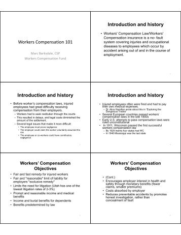 Workers Compensation 101 Introduction and history Introduction ...