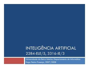 INTELIGÊNCIA ARTIFICIAL - Departamento de Informática da ...