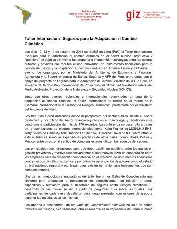 Taller Internacional Seguros para la Adaptación al Cambio ... - PDRS