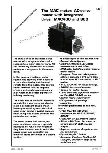 The MAC motor. AC-servo motor with integrated ... - agenzia ing. pini