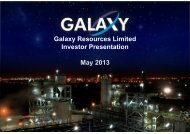 Galaxy Rights Issue Presentation - Galaxy Resources