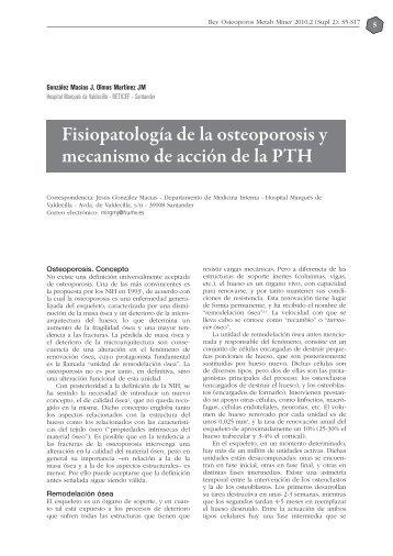 Fisiopatología de la osteoporosis y mecanismo de acción de la PTH