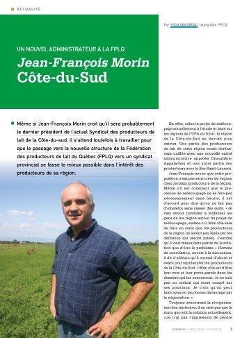 Jean-françois morin Côte-du-Sud - Fédération des producteurs de ...