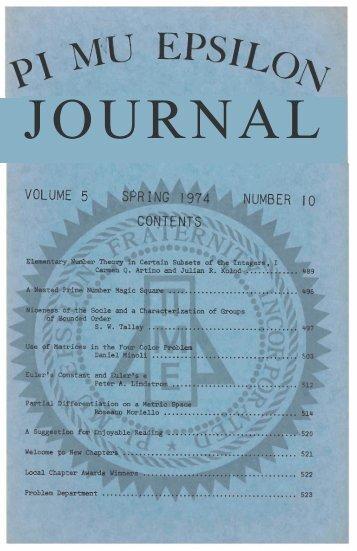 Vol. 5 No 10 - Pi Mu Epsilon