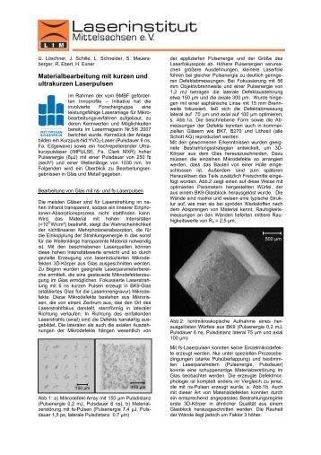 Materialbearbeitung mit kurzen und ultrakurzen Laserpulsen