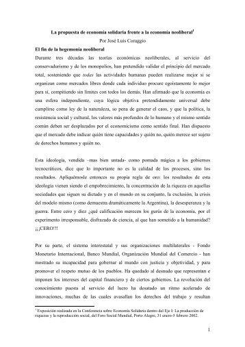 Exposición de José Luis Coraggio en Foro Social Mundial \(1-5 ...
