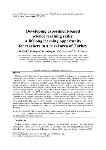 Developing experiment-based science teaching skills - Bristol ...