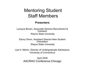 Mentoring Student Staff Members - AACRAO