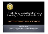 Flexibility for Innovation, Part 2 of 3 Investing - Clayton County ...