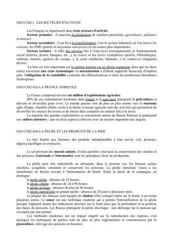 GEO CM2-1 LES SECTEURS D'ACTIVITE Les ... - Enseignons.be
