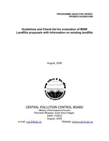 Guidelines and Check-list for evaluation of MSW Landfills proposals ...