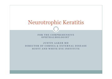 Neurotrophic Keratitis - Healthcare Professionals