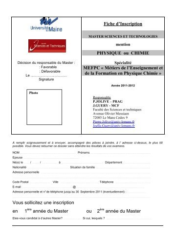 Dossier de pre inscription master chimie - Extrait inscription chambre des metiers ...