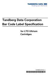 Bar Code Label Specification - Tandberg Data