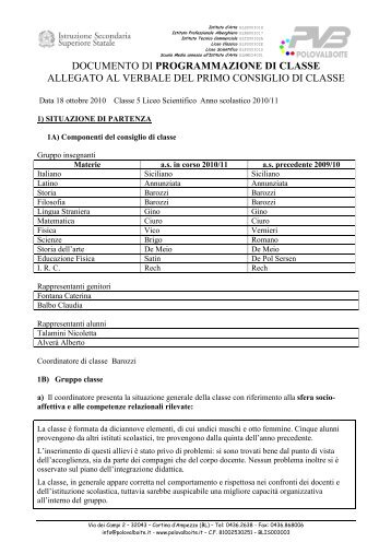 documento di programmazione di classe allegato al ... - Polo Valboite