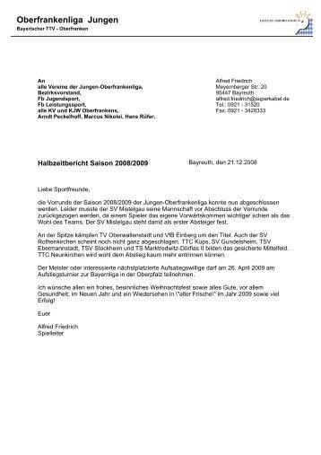 Vorrundenbericht und Bilanz für die Saison 2008 ... - Tt-mistelgau.de