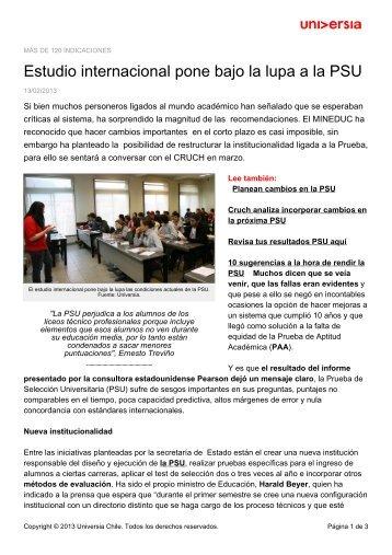 Estudio internacional pone bajo la lupa a la PSU - Noticias - Universia