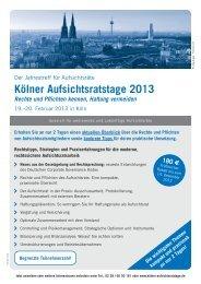 Anmeldung Kölner Aufsichtsratstage 2013 - FutureValue Group AG