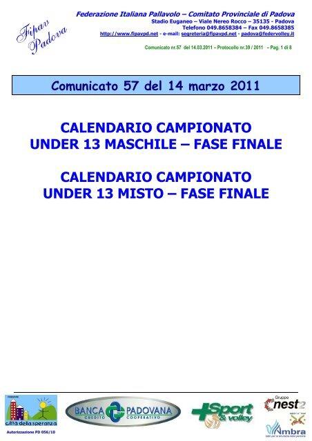 Calendario Fipav.Calendario Campionato Under 13 Maschile Fipav