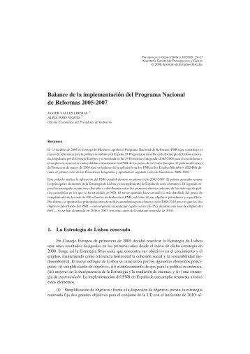 Balance de la implementación del Programa Nacional ... - La Moncloa