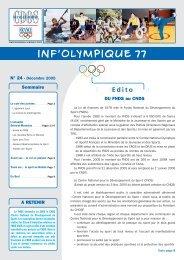 INF'OLYMPIQUE 24 - CDOS Seine et Marne - Comité National ...