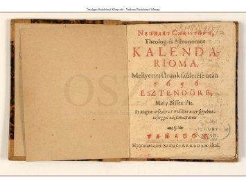 Neubart Christoph theolog(us) és astronomus kalendarioma, mellyet ...
