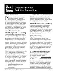 Cost Analysis for Pollution Prevention