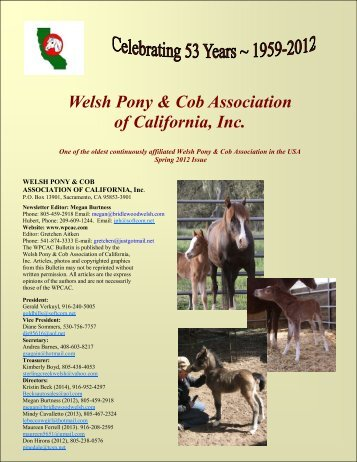Spring 2012 Bulletin - the Welsh Pony & Cob Association of California