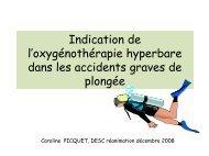 Indication de l'oxygénothérapie hyperbare dans les accidents ...