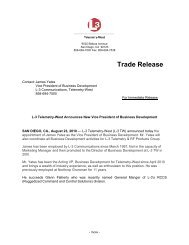Trade Release - L-3 Communications