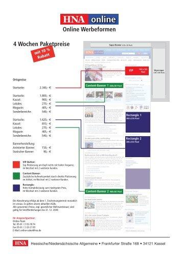 Online Werbeformen 4 Wochen Paketpreise - HNA