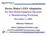 Device Maker's EES Adaptation. For More Robust ... - Sematech
