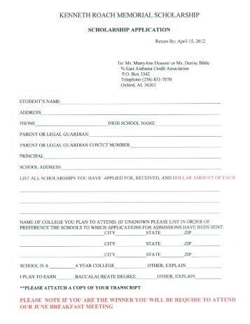 kenneth roach memorial scholarship - Calhoun County Schools
