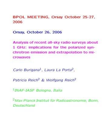 BPOL MEETING, Orsay October 25-27, 2006 Orsay, October 26 ...