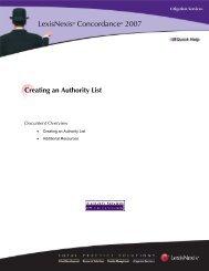 Creating an Authority List - LexisNexis