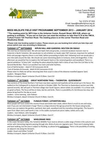 BEES Wildlife Visits Sept 2013 - Jan 2014 Programme (pdf - 399Kb)