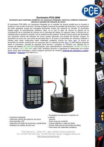Durómetro PCE-2800 - PCE Ibérica