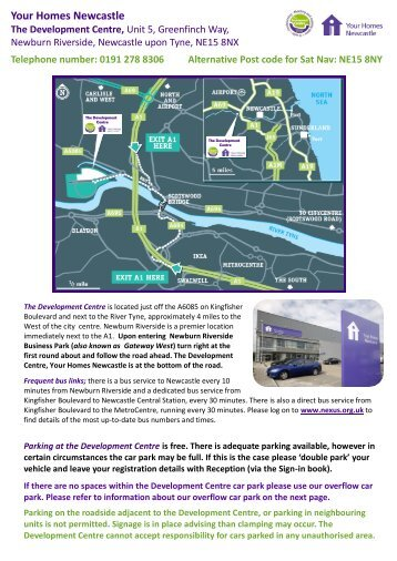 directions to The Development Centre (pdf) - Your Homes Newcastle