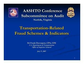 Transportation-Related Fraud Schemes & Indicators - AASHTO ...