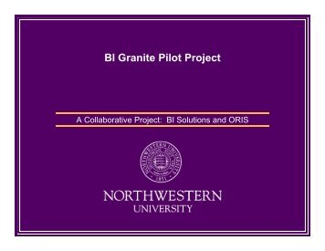 BI Granite Pilot Project - Northwestern University Information ...