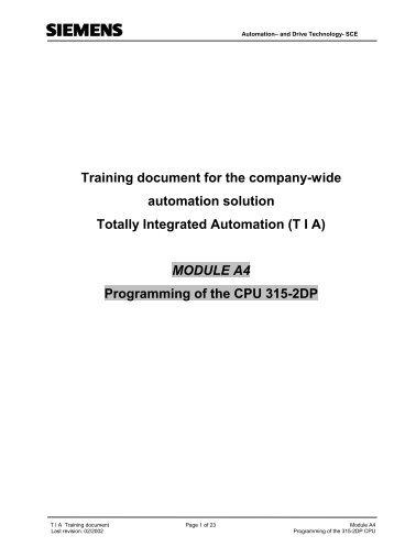 Programming of the CPU 315-2DP