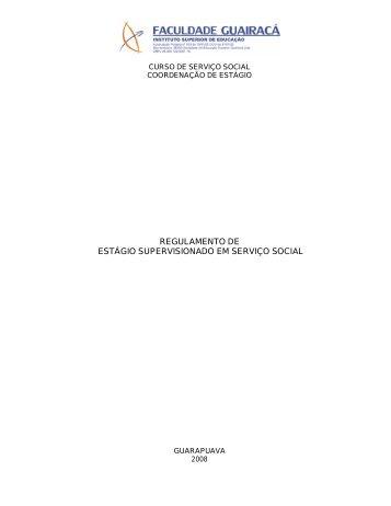 regulamento de estágio supervisionado em serviço social