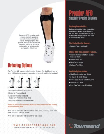 Premier AFO Order Form General Information - Townsend Design