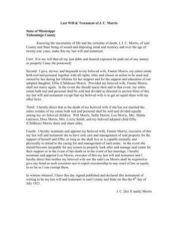 Last Will & Testament of J. C. Morris State of Mississippi Tishomingo ...