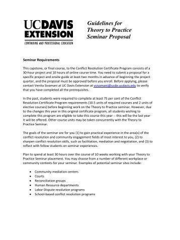 Proposal guidelines - UC Davis Extension
