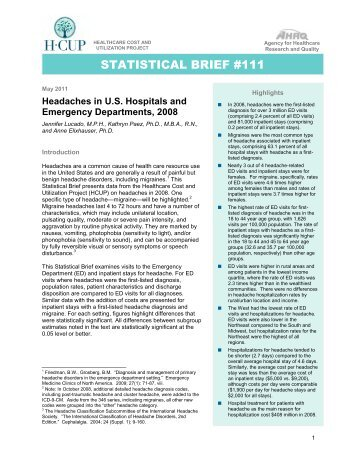 Headaches in US Hospitals and Emergency Departments ... - HCUP